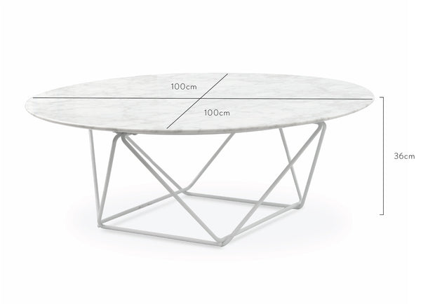 CCF1025 100cm Round Marble Coffee Table With White Base