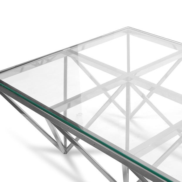 CCF1071-BS 1.2m Coffee Table - Glass Top - Silver Steel Base