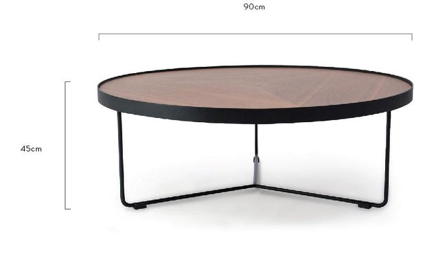 CCF384-90cm Round Coffee Table - Walnut Top - Black Frame