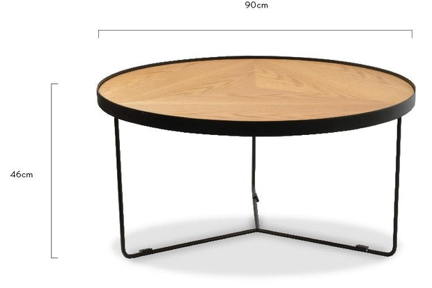 CCF388L-BB 90x45cm Round Coffee Table - Natural Top - Black Frame