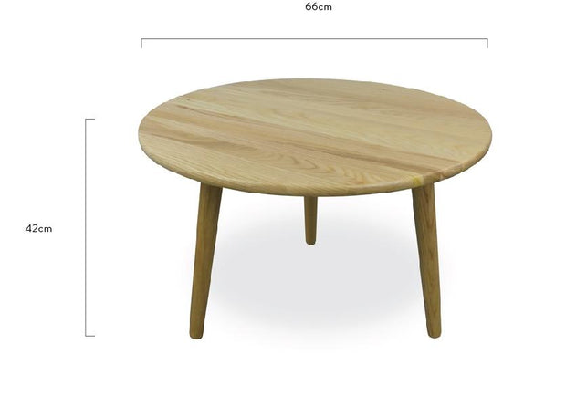 66cm Round Coffee Table - Natural