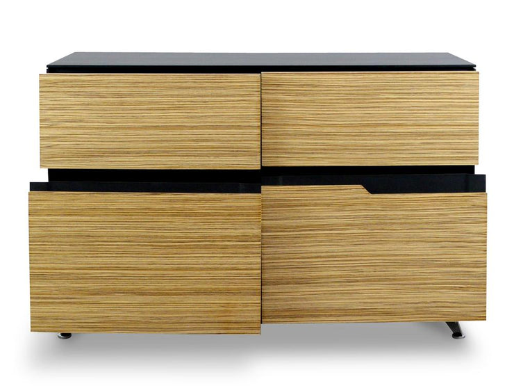 4 Drawer Buffet Cabinet - Black  And Zebra Wood