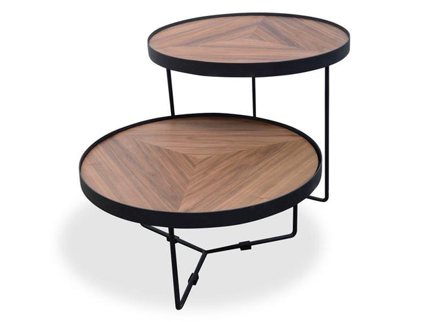 CCF385-L 60cm Round Coffee Table - Walnut Top - Black Frame