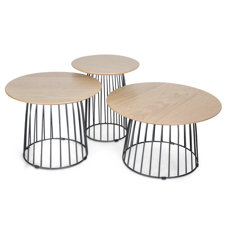Side Table Set - Natural - Black