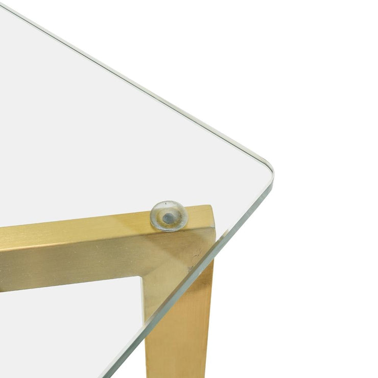 CDT2360-KS 1.9m Glass Dining Table -  Gold Base