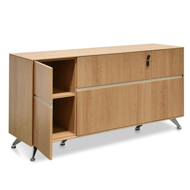 2 Drawer Filing Cabinet with Cupboard - Natural