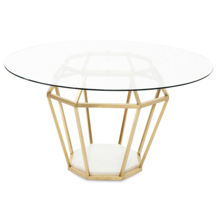 1.4m Diameter Round Dining Table - Brushed Gold Base