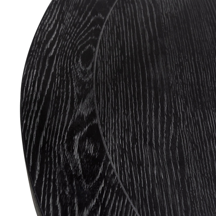 1.5m Round Wooden Dining Table - Full Black