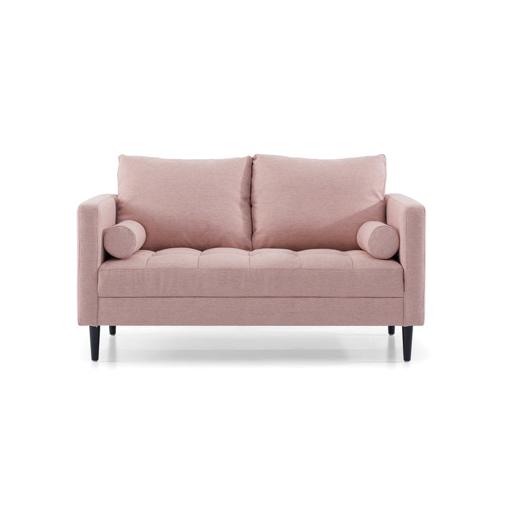 2 Seater - Texture Blush Fabric Sofa with Black Legs
