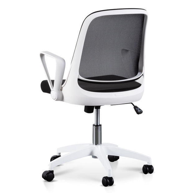 Black Office Chair - White Arm and Base