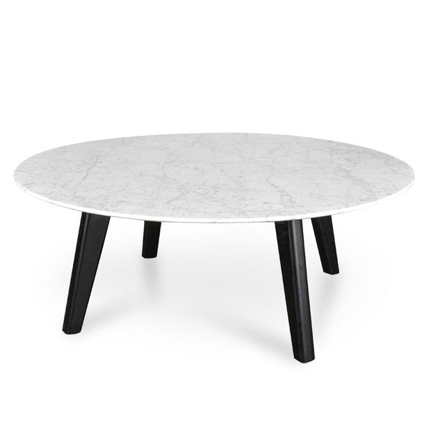CCF2008-SD 100cm Marble Coffee Table with Black Legs