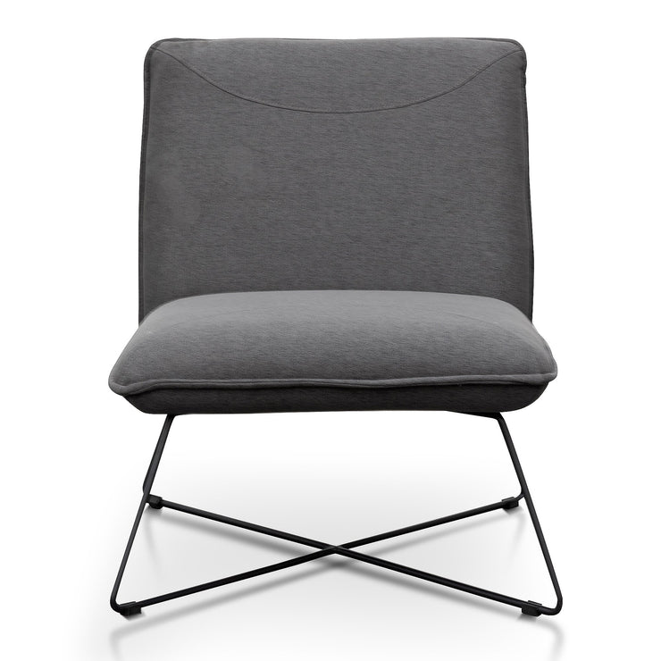 Fabric Lounge Chair in Dark Grey - Black Legs