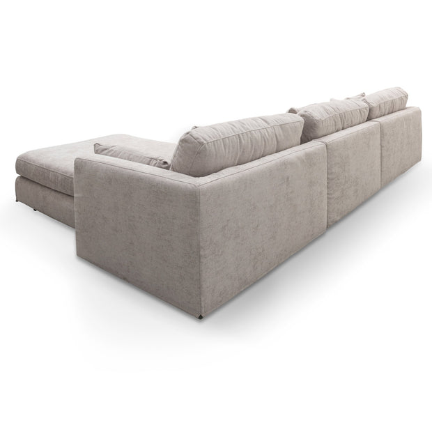 LC6094-KSO 4 Seater Fabric Sofa with Ottoman - Oyster Beige