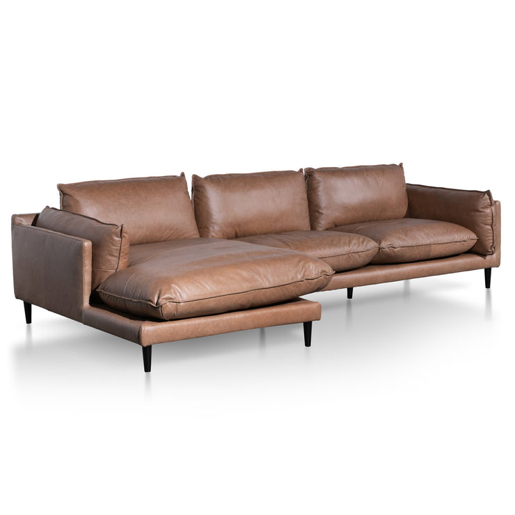 4 Seater Left Chaise Leather Sofa - Saddle Brown