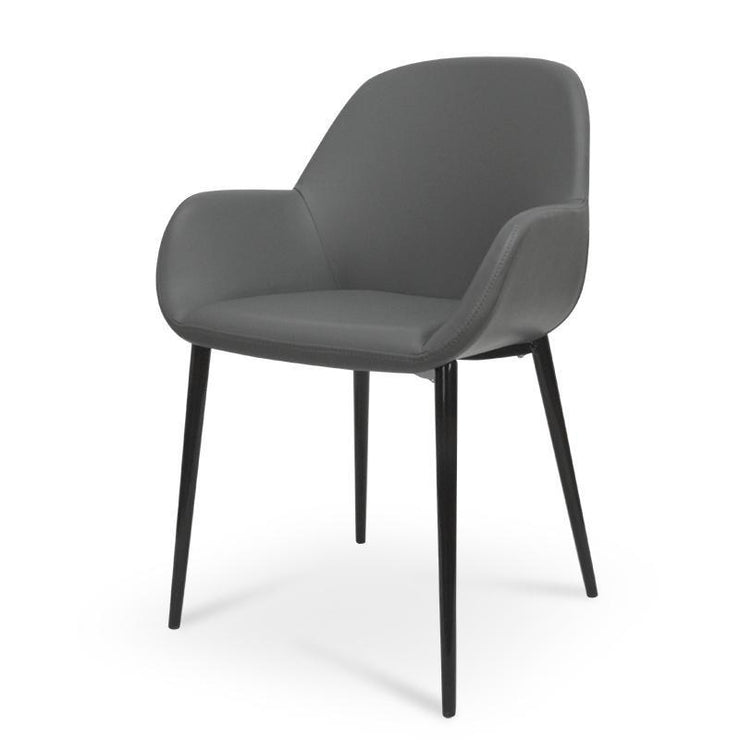Dining Chair in Charcoal Grey With Black Legs