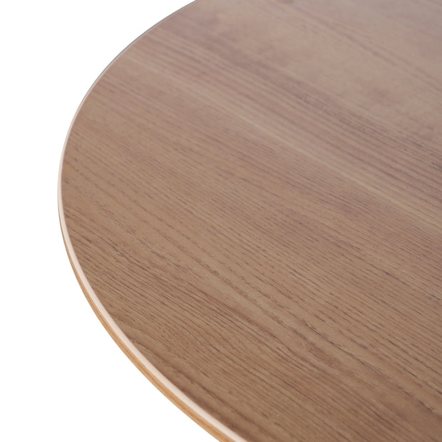 Round Office Meeting Table - Natural with Black Base