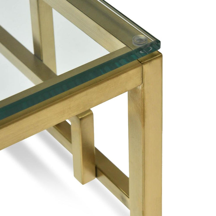 CST2426-BS Side Table - Glass Top - Brushed Gold Base