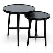 Nested Wooden Side Table - Black