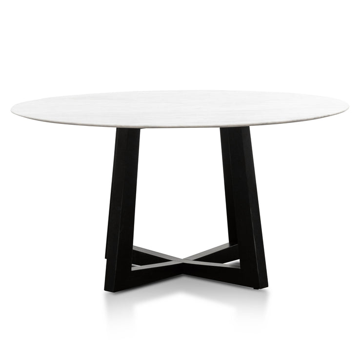 1.5m Round Marble Dining Table - Black