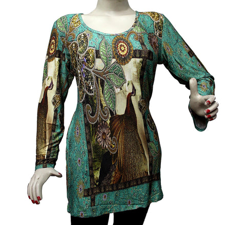 Jersey tunic with block print