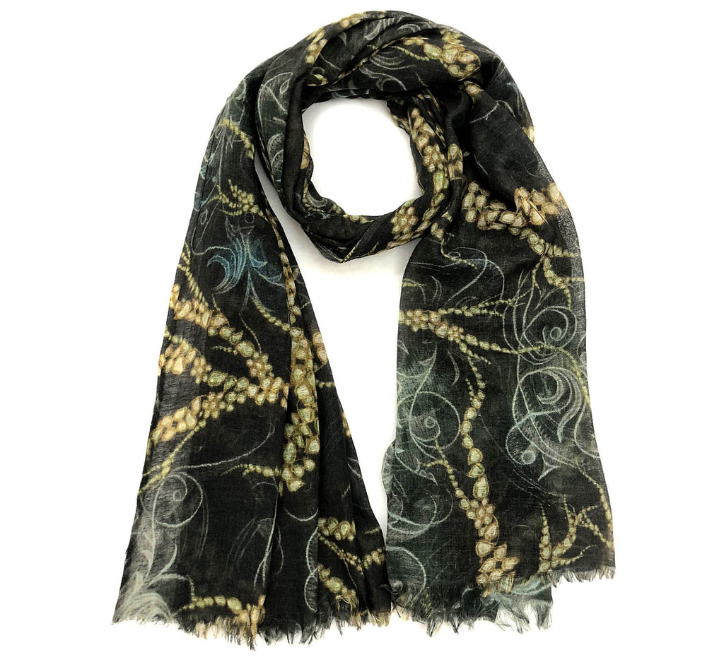 Black wool scarf | Lightning gem thin wool winter accessory - Dtex Prints