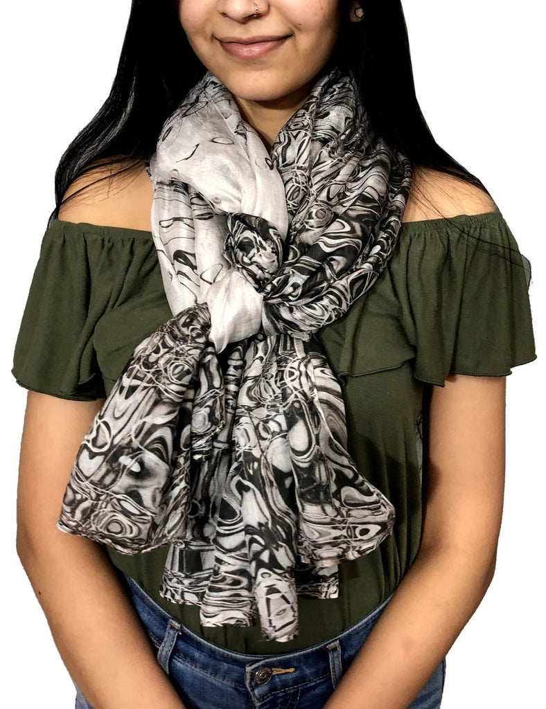 Black and white silk scarf | light weight Oblong neck accessory - Dtex Prints