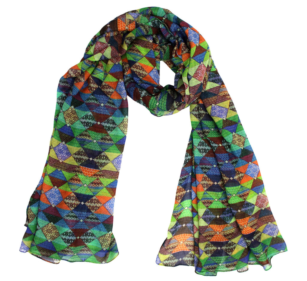 patchwork scarf - multi color patch design on viscose - Dtex Prints