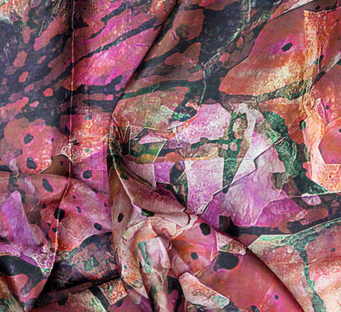 Printed Silk fabric - wine color