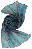 Oblong Silk Scarf | Blue pattern scarf for ladies - Dtex Prints