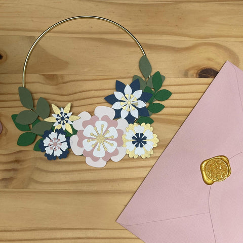 DIY Paper Wreath Kit - Navy and Pink