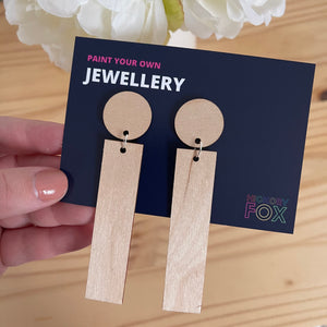 Paint-your-own bar drop earrings
