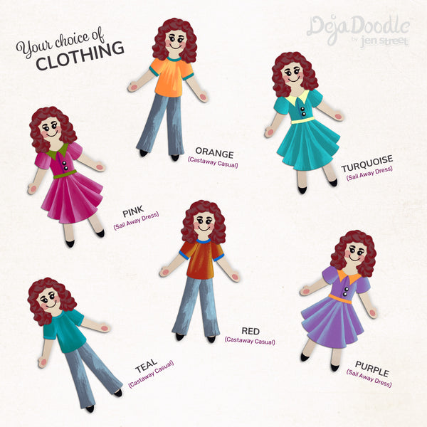 Silhouette Style A - Light Skin Tone - Under the Sea Red Hair (Choose Hairstyle & Outfit)
