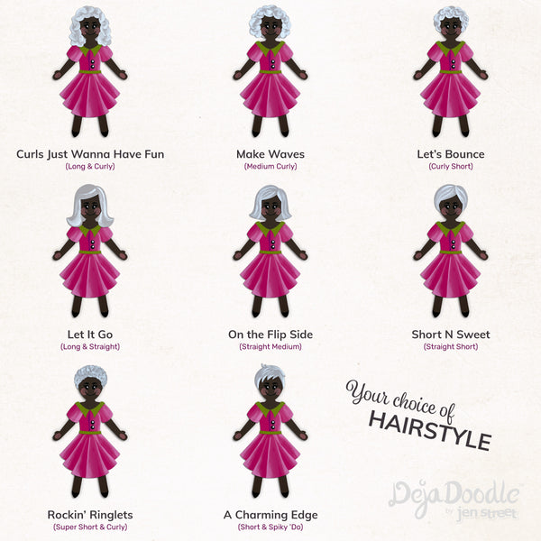 Silhouette Style A - Dark Skin Tone - Grey Hair (Choose Hairstyle & Outfit)