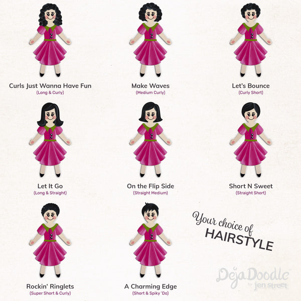 Silhouette Style A - Light Skin Tone - Dark Side Black Hair (Choose Hairstyle & Outfit)
