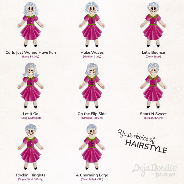 Silhouette Style A - Light Skin Tone - Happily Ever After Grey Hair (Choose Hairstyle & Outfit)