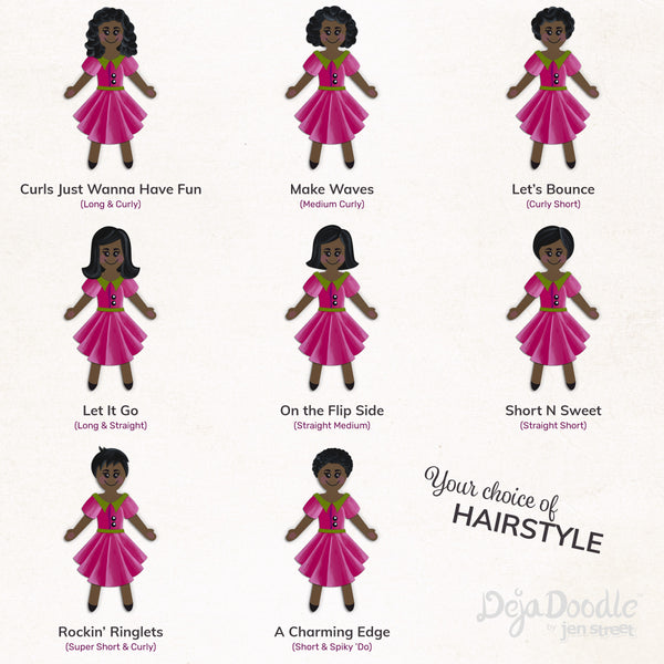 Silhouette Style A - Medium Skin Tone - Dark Side Black Hair (Choose Hairstyle & Outfit)