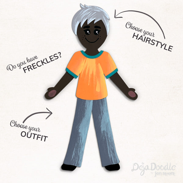 Silhouette Style B - Dark Skin Tone - Happily Ever After Grey Hair (Choose Hairstyle & Outfit)