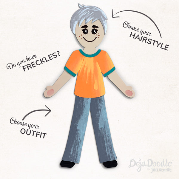 Silhouette Style B - Light Skin Tone - Happily Ever After Grey Hair (Choose Hairstyle & Outfit)