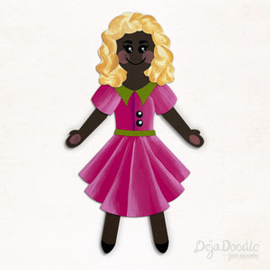 Silhouette Style A - Dark Skin Tone - Tangled Up in Blonde Hair (Choose Hairstyle & Outfit)