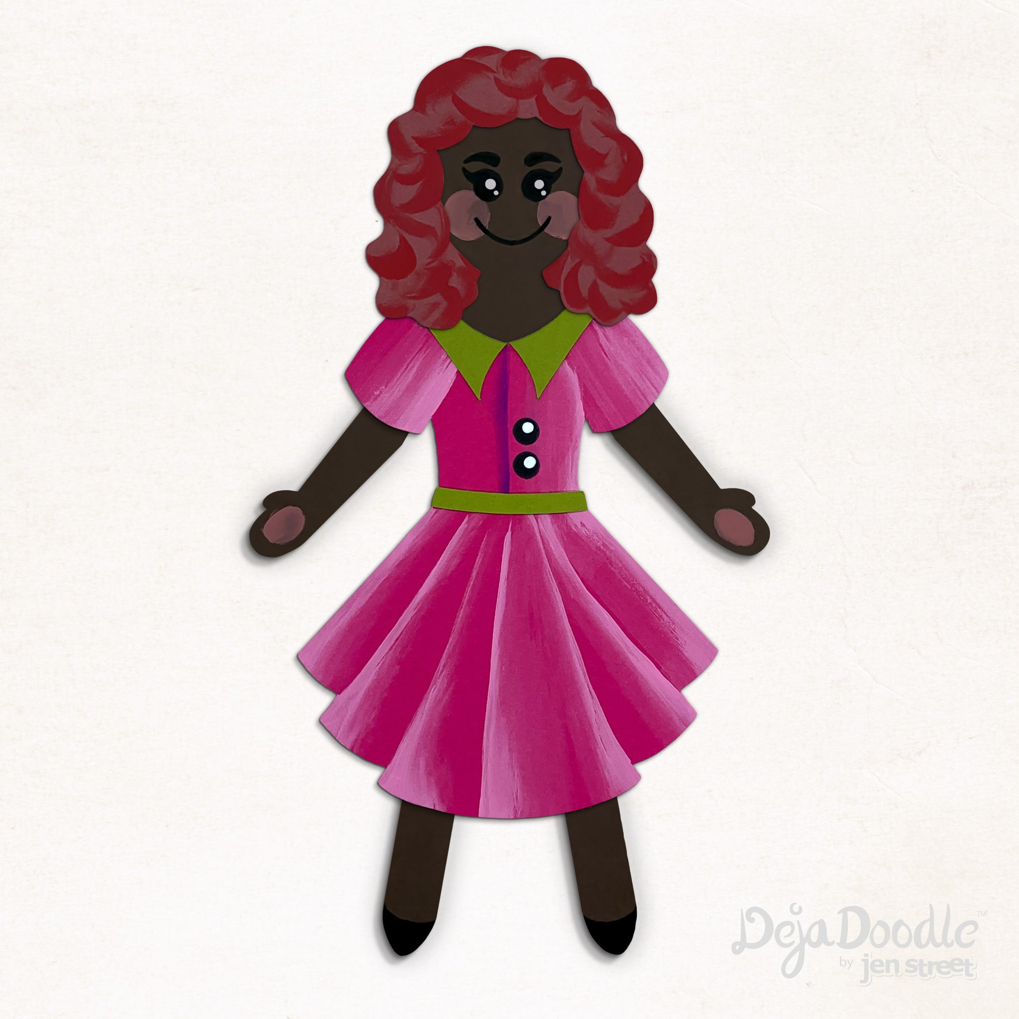 Silhouette Style A - Dark Skin Tone - Under the Sea Red Hair (Choose Hairstyle & Outfit)