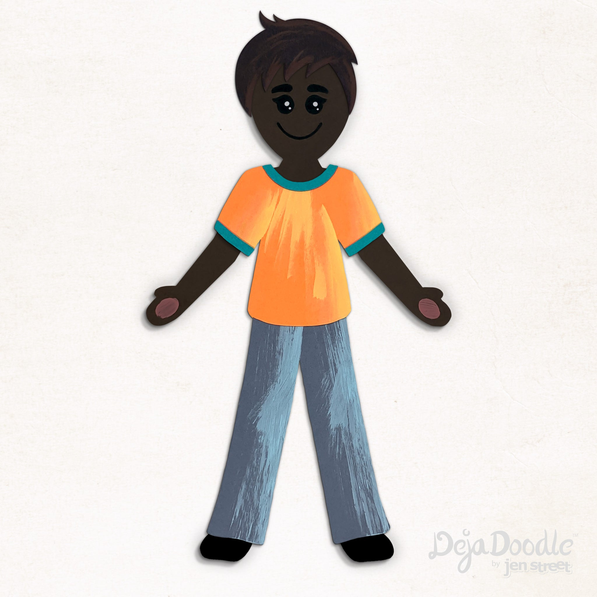Silhouette Style B - Dark Skin Tone - Sandy Brown Hair (Choose Hairstyle & Outfit)