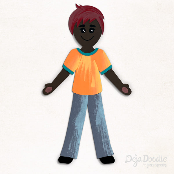 Silhouette Style B - Dark Skin Tone - Under the Sea Red Hair (Choose Hairstyle & Outfit)