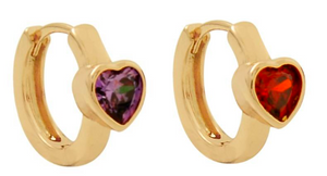 Colorful Heart 18K Gold Layered Children's Earring