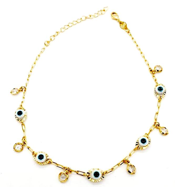 Eye and Zirconia Anklet 18K Gold Layered