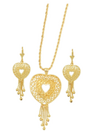Hallow Heart Set 18K Gold Layered Chain and Earrings