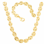 Puffy Gucci Bracelet & Chain 18K Gold Layered Unisex Set