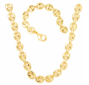Load image into Gallery viewer, Puffy Gucci Bracelet & Chain 18K Gold Layered Unisex Set