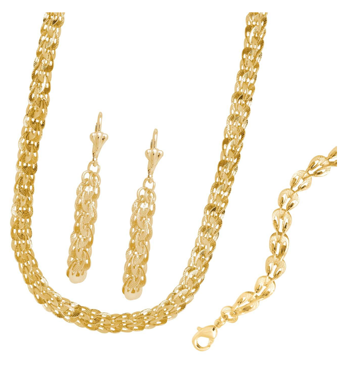 Chain Link Set 18K Gold Layered Set with Earrings