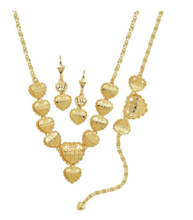Golden Heart Set 18K Gold Layered Chain & Earrings