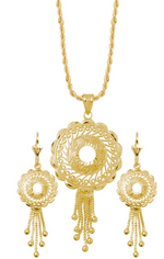 Mandala 18K Gold Layered Chain and Earrings Set